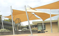sail shade structures on a playground