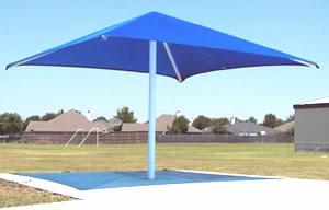 blue permanent umbrella shade
